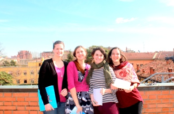 From L to R: Students Elizabeth Agase, Nicola Hill, Thea Dickerman and Irena Grizelj have been working hard to organize this year's Vagina Monologues at the SAIS Europe Campus. (Rachel Finan)