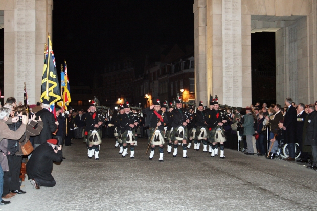 The Last Post Ceremony in Ypres, Belgium provided a fitting kick-off for the staff ride.  Performed every night by volunteers, this night featured a full pipes and drums band, a parade of veterans, and a wreath-laying ceremony.  (Photo: Mike Youn)