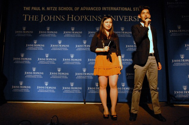 Hosts Marco Sanchez Junco and Ellen Wong congratulate the contestants before announcing 2014 Mr. and Ms. SAIS. (Sarah Rashid)