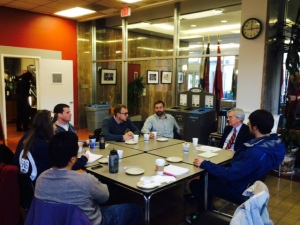 Dean Harrington talks with students over a cup of coffee.  (Photo Courtesy: Marc Pickering)