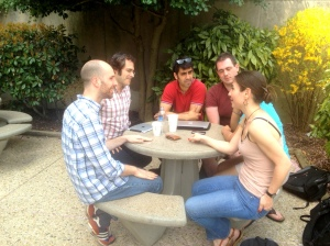 SAIS Observer editors discuss interview skills and working in journalism with Pablo Pardo (second from left) and Julia Damianova (first from right) in the Nitze courtyard. (SARAH RASHID)