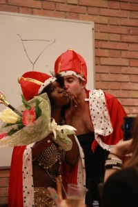 Mr. & Mrs. SAIS Europe (Derek Schlickelsen and Grace Cineas) celebrate their victory. (Joy Yao)