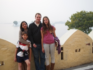 Rani Mullen, left, with her husband Patrick Mullen, son Kiran and daughter Tara in Udaipur, India, in 2013.