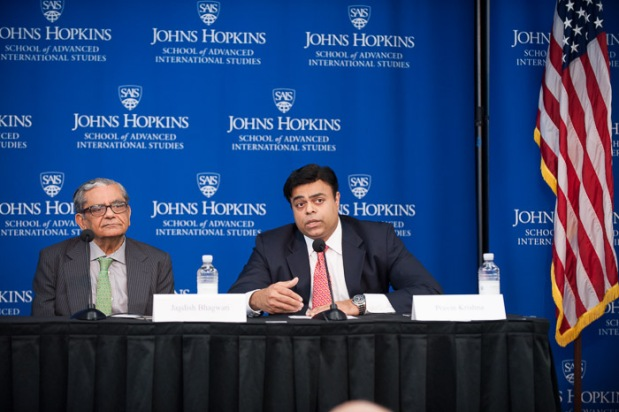 SAIS economics professor Pravin Krishna (right) moderates a discussion with Columbia University's Jadish Bhagwati (left), Anne Krueger (not pictured) and Swedish Minister of Trade Ewa Bjorling (not pictured). Photo courtesy of Kaveh Sardari.