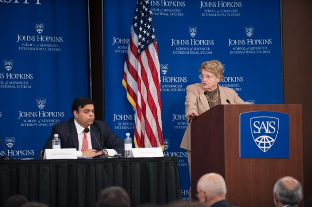 SAIS economics professor Anne Krueger speaks at Kenney Auditorium Oct. 1. Photo courtesy of Kaveh Sardari.