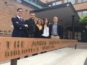 SAIS Europe's newly elected 2014-2015 Student Government Association (from left to right:  Derek Brooks, Andrew Caruso, Irene Forzoni, Joana Allamani and Max Beck) poses for a group picture at the Bologna campus.