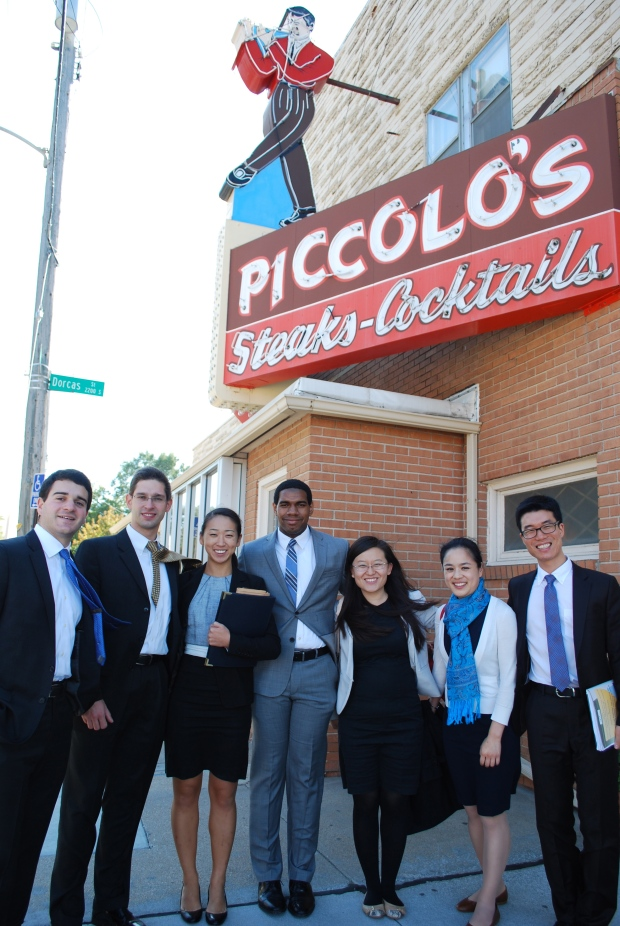 Berkshire Hathaway CEO Warren Buffett treated SAIS International Finance Club students to lunch Friday, Oct. 17, at one of his favorite joints: Piccolo's, an Omaha steakhouse.