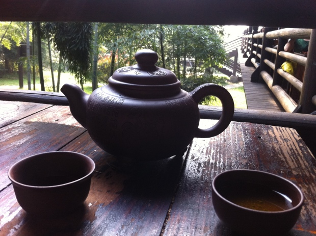 Enjoying fresh tea with the Monk who made it.