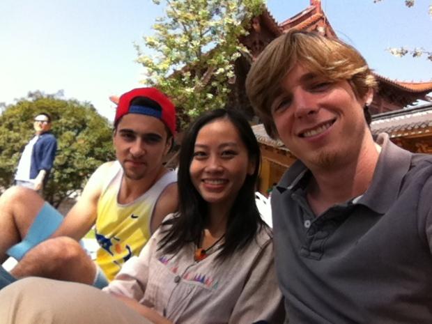 Chase, Kay, and their fellow intrepid traveler Ronan.