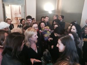 Kerry Kennedy (middle) met with SAIS Europe students after her speech. (Source: Courtesy of Giulia Rossi)