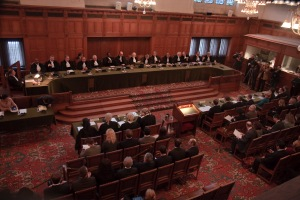 The International Court of Justice meets at the Great Hall of Justice in the Peace Palace located in The Hague, Netherlands. On Tuesday, the ICJ handed down a long-awaited ruling stating neither Croatia nor Serbia committed genocide during the 1991-1995 war between the two countries in the breakup of Yugoslavia. (Photo: Wikimedia Commons)