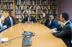 A group of SAIS students speak with NAACP President Cornell Brooks in a more casual setting before his remarks in Kenney Auditorium. (Photos: Kaveh Sardari)