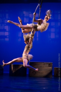 Dancers perform an aerial duet.  (Photo: Enoch Chan)