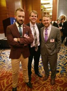 Three certificate students enjoying the reception. From left to right: Theo Robie, Sean Linkletter, and John Hackett. (Source: John Hackett)