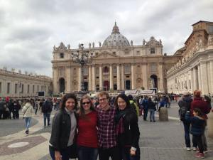 SAIS Europe students Roxana Martinelli, Stephanie Billingham, Kevin Matthees and Katherine Wang enjoy St. Peter's Square in nicer weather, the day before Easter Sunday. (Courtesy of Roxana Martinelli)