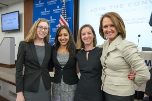 GWL member Jenna Spinks, GWL Co-President Seethal Kumar, Co-President Caroline Smeallie, and keynote speaker Vicki Escarra, Global CEO of Opportunity International pause for a picture after her Escarra's remarks. (Photo Courtesy of Kaveh Sardari)