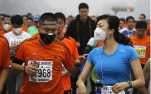 Pauley - Illustration 2 Runners wearing masks during the 2014 Shanghai Marathjon