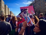 """Protesters chant """"Love, not hate, that's what makes America great"""" in the streets of Washington, D.C. (Photo Courtesy: Fatima Nanavati)"""